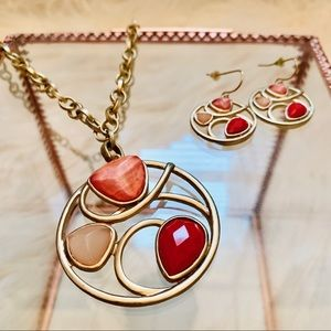 Jewelry - Pink Coral Stone Necklace and Earring Set